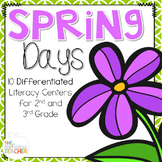Spring Differentiated Literacy Centers for 2nd and 3rd Grade