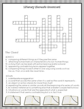 Differentiated Literary Elements Crossword Puzzles: 4th & 5th Grades - Set 1