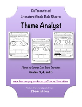Differentiated Literature Circle Role Sheets: Theme Analyst  CCSS aligned