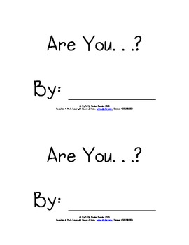 """Differentiated Little Book """"Are You...?"""" - Sight Words are, my, you"""