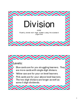 Differentiated Long Division Task Cards (3 sets of cards) 6.NS.2
