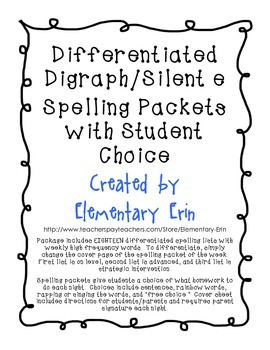 Differentiated Long Vowel Silent e Spelling Packets with Student Choice