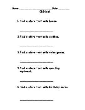 Differentiated Mall Community Based Instruction (CBI) Worksheet
