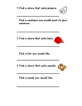 Differentiated Mall Community Based Instruction (CBI) Worksheet 3