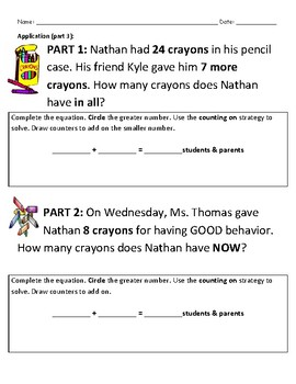 Differentiated Math Assessment- 1.OA.6 Counting-On Strategy