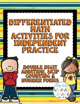Differentiated Math Boards: 2-Digit Addition, Skip Counting, and Math Boards