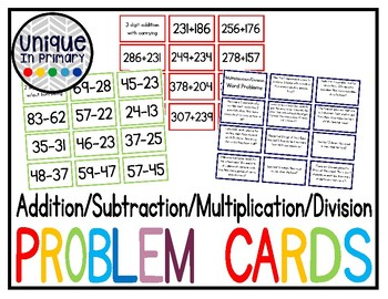 Differentiated Math Cards (add/sub/multiply/divide)