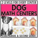 Differentiated Math Centers for 1st & 2nd Grade - Dog Themed