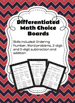 Differentiated Math Choice Board (2-digit and 3-digit problem solving)