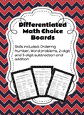 Differentiated Math Choice Board (2-digit and 3-digit prob