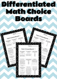 Differentiated Math Choice Board (Word Problems, Base Ten,