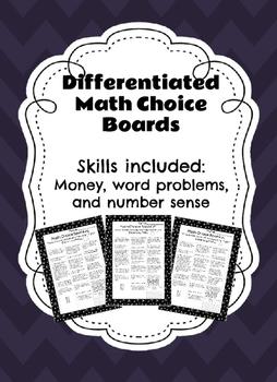 Differentiated Math Choice Board 3rd Grade