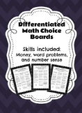 Differentiated Math Choice Board 3rd Grade