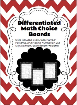 Differentiated Math Choice Board (Number Sense, Addition, and Subtraction)