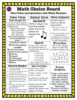 Differentiated Math Choice Board Place Value and Operations with Whole Numbers