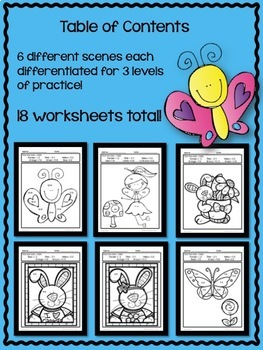 Differentiated Math Coloring Sheets for Spring
