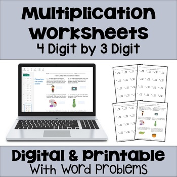 Multiplication Worksheets: 4 Digit by 3 Digit (3 Levels pl