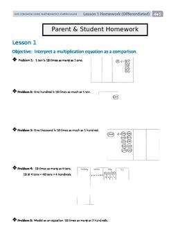 Differentiated Math Homework for Grade 4 Module 1