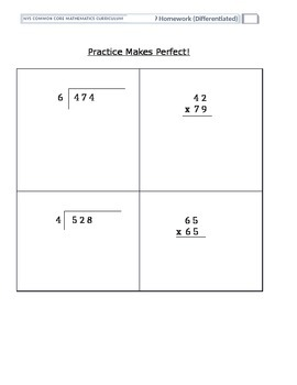Differentiated Math Homework for Grade 4 Module 5