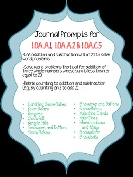 Differentiated Math Journal Prompts for Winter