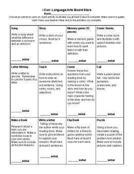 Differentiated Math & Language Arts Choice Board Bundle