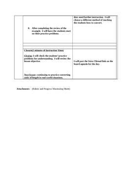 Differentiated Math Lesson Plan Length Conversion with Division