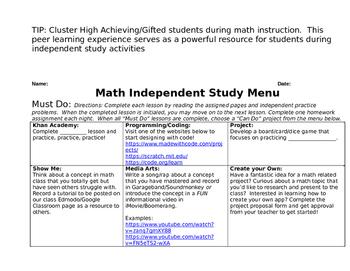 Differentiated Math Menu