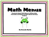 Differentiated Math Menu for the Common Core: Fifth Grade