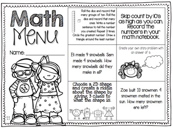 Differentiated Math Menus for Spring Semester