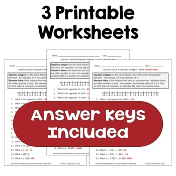 Absolute Value & Opposite Integers Worksheets (3 Levels)