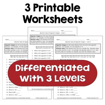 Absolute Value and Opposite Integers Worksheets (3 Levels)