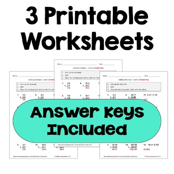 Adding Decimals Worksheets (Differentiated with 3 Levels)
