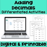 Adding Decimals Differentiated Worksheets