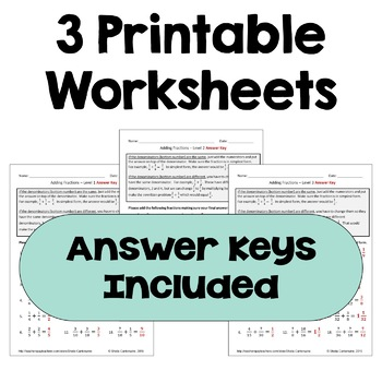 Adding Fractions Worksheets (Differentiated with 3 Levels)