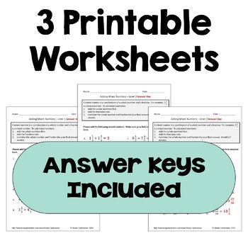 Adding Mixed Numbers Worksheets (Differentiated)