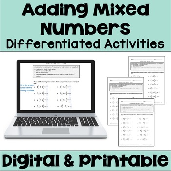 Adding Mixed Numbers Worksheets (3 Levels)