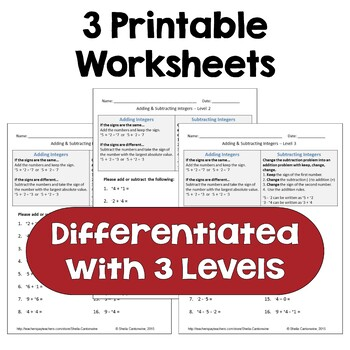 Adding and Subtracting Integers Worksheets (Differentiated with 3 Levels)