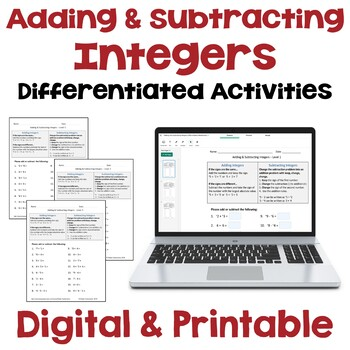Adding And Subtracting Integers Differentiated Worksheets By Sheila