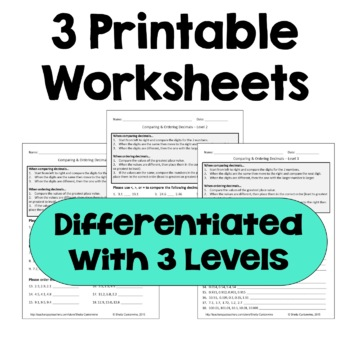 Comparing and Ordering Decimals Worksheets (Differentiated with 3 Levels)