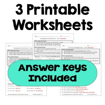 Comparing and Ordering Decimals Differentiated Worksheets by Sheila ...