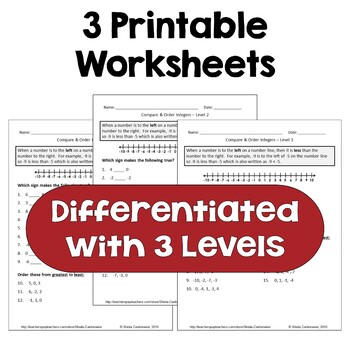 Compare and Order Integers Worksheets (Differentiated with 3 Levels)