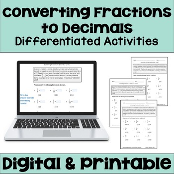 Converting Fractions to Decimals Worksheets (3 Levels)