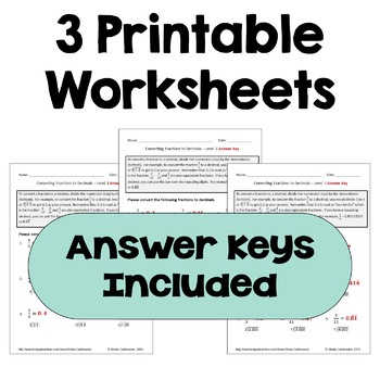 Converting Fractions to Decimals Differentiated Worksheets