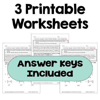 Converting Improper Fractions to Mixed Numbers Worksheets (3 Levels)