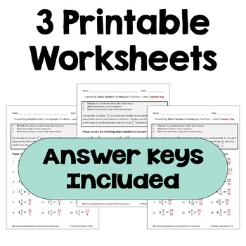 Converting Mixed Numbers to Improper Fractions Worksheets (3 Levels)