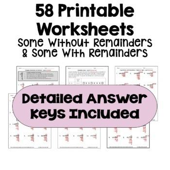 long division worksheet bundle 3 levels with detailed answer keys. Black Bedroom Furniture Sets. Home Design Ideas