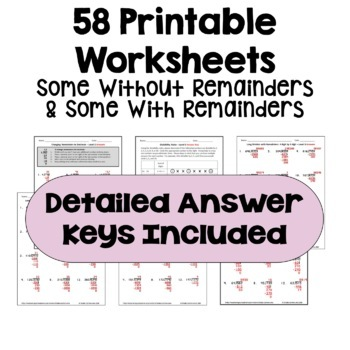 Long Division Worksheet BUNDLE - Differentiated with Detailed Answer Keys