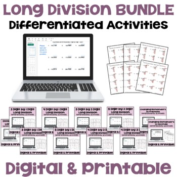 Long Division Worksheet BUNDLE - 3 Levels with Detailed An