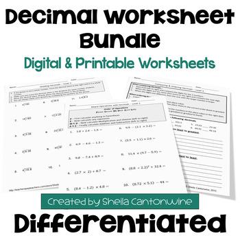 Decimal Worksheet BUNDLE (Differentiated)