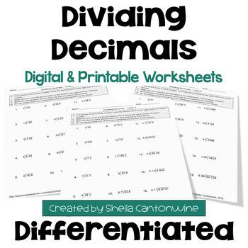 Dividing Decimals Worksheets (3 Levels)